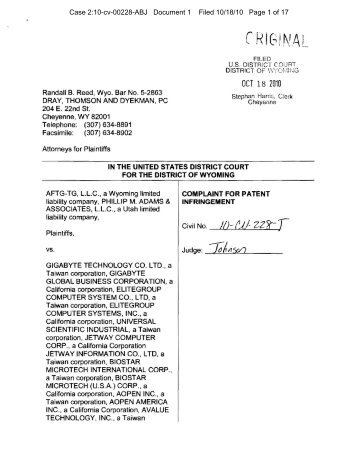 Case 2:10-cv-00228-ABJ Document 1 Filed 10/18/10 Page 1 of 17
