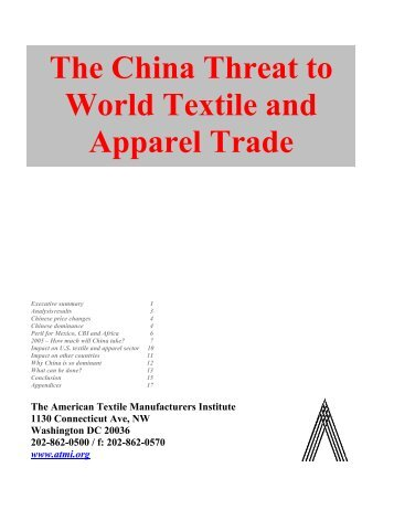 The China Threat to World Textile and Apparel Trade