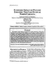 economic impact of poultry industry: the case study of north carolina