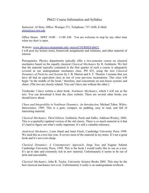 Ph621 Syllabus and Course Information - Physics at Oregon