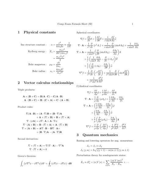 Formula Sheet (SI units)