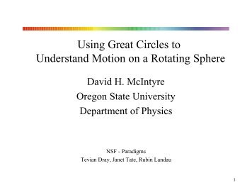 PowerPoint slides (pdf) - Physics at Oregon State University