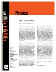 Letter from the Chair - Physics at Oregon State University