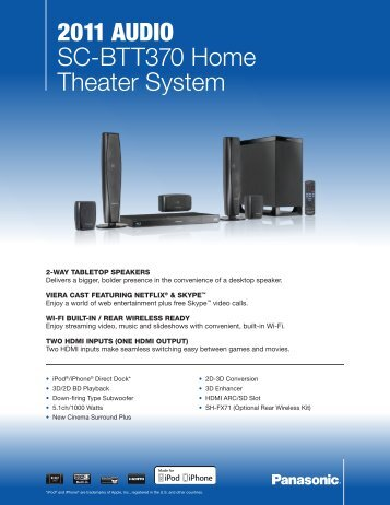 2011 AudiO SC-BTT370 Home Theater System