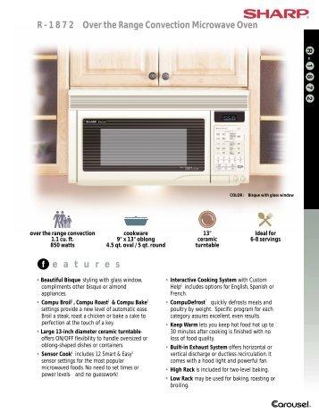 f e a t u r e s R - 1 8 7 2 Over the Range Convection Microwave Oven