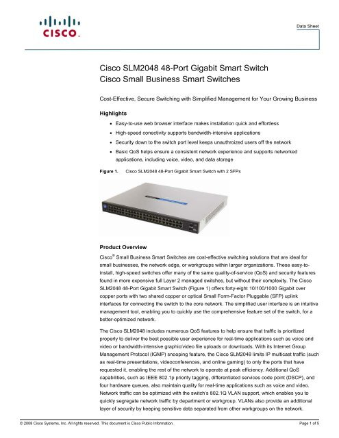 Cisco SLM2048 48-Port Gigabit Smart Switch Cisco Small