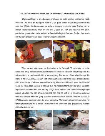 SUCCESS STORY ON HANDLESS ORTHOPAEDIC GIRL CHILD