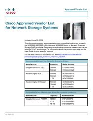 Cisco Approved Vendor List for Network Storage Systems