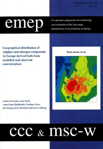 Geographical distribution of sulphur and nitrogen ... - EMEP