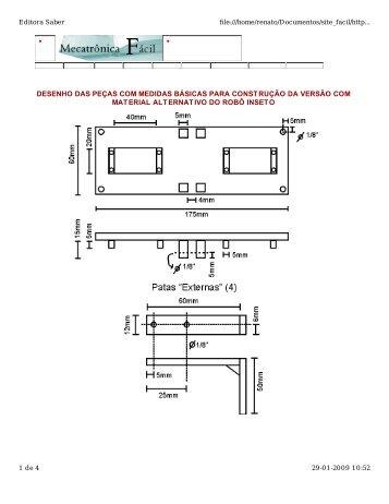desenho das peças com medidas básicas para construção