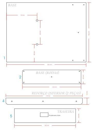 Medidas das peças utilizadas