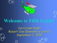 Welcome to Fifth Grade! - Clow Elementary School