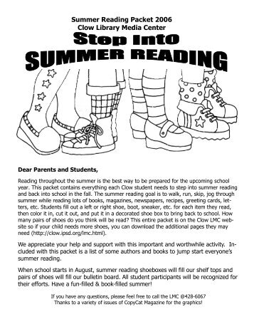 We're going to step into SCHOOL READING! - Clow Elementary ...
