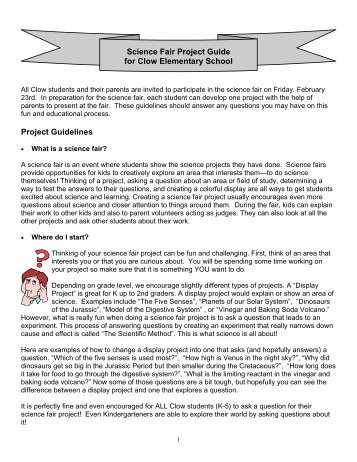 Science Fair Project Guide for Clow Elementary School