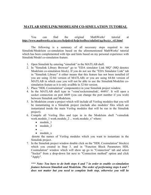 MATLAB SIMULINK/MODELSIM CO-SIMULATION TUTORIAL - ECE