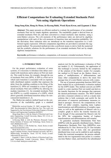 Efficient Computations for Evaluating Extended Stochastic Petri Nets ...