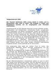 Tätigkeitsbericht 2005 Der Tsunami bestimmte ... - Andheri-Hilfe Bonn