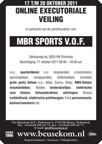 MBR SPORTS V.O.F. - Veiling - Van Beusekom