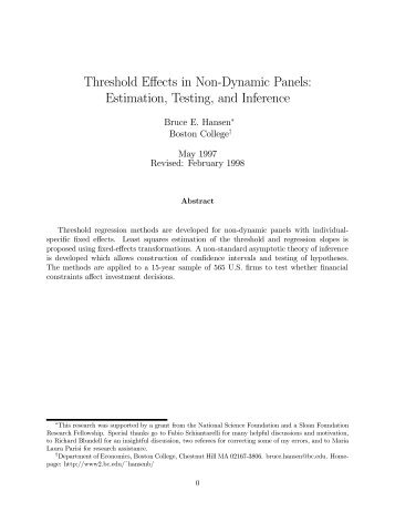 Threshold Effects in Non Dynamic Panels ... - Boston College
