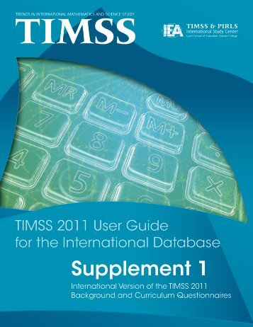 Supplement 1 - TIMSS and PIRLS Home - Boston College