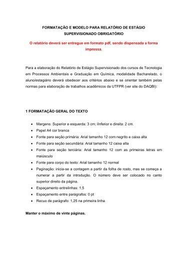 FORMATAÇÃO E MODELO PARA RELATÓRIO DE ... - UTFPR