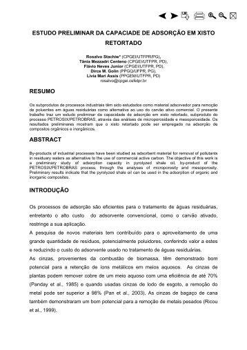 Estudo Preliminar da Capacidade de Adsorção em Xisto ... - UTFPR