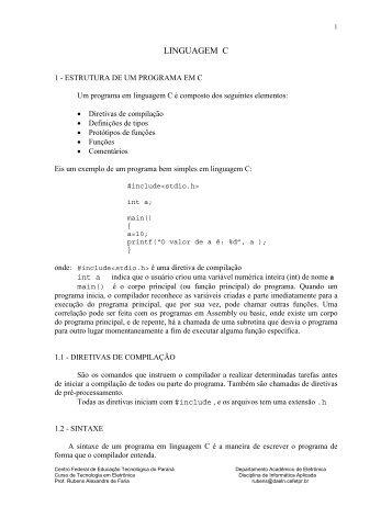 APOSTILA DE LINGUAGEM C - UTFPR
