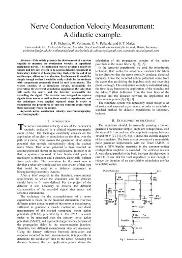Nerve Conduction Velocity Measurement: A didactic example.