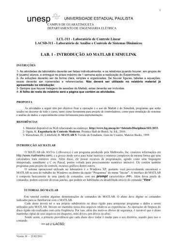 LAB. 1 - INTRODUÇÃO AO MATLAB E SIMULINK