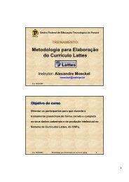 Metodologia para Elaboração do Currículo Lattes