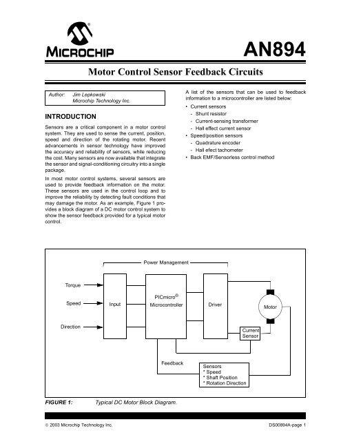 motor control sensor feedback circuits microchip