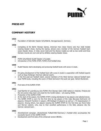 PUMA's Company History PDF download - About PUMA