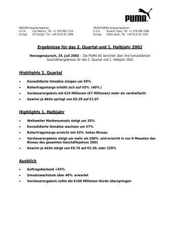 Ergebnisse für das 2. Quartal und 1. Halbjahr 2002 - About PUMA
