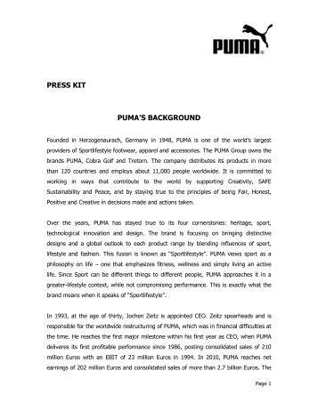 PUMA's Background PDF download - About PUMA