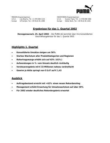 Ergebnisse für das 1. Quartal 2002 - About PUMA