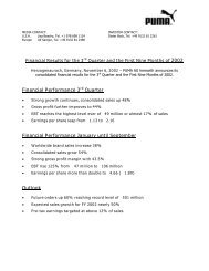 Financial Performance 3rd Quarter Financial ... - About PUMA