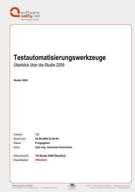 Testautomatisierungswerkzeuge - Software Quality Lab