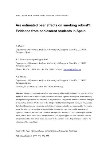 Are estimated peer effects on smoking robust?: Evidence from ...