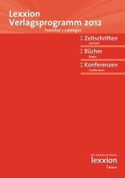 Lexxion Verlagsprogramm 2012