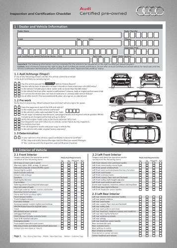 audi cpo inspection and certification checklist 4 mb