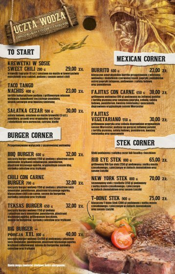 TO START BURGER CORNER MEXICAN CORNER STEK CORNER