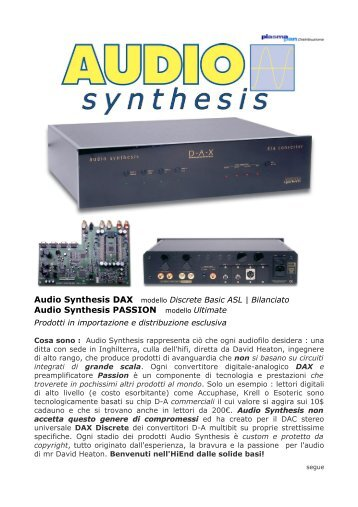 Audio Synthesis DAX Audio Synthesis PASSION modello Ultimate