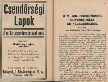 Csendörségi Lapok - Magyar Királyi Csendőrség