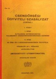 OaYVITELI SZABÁLYZAT - Magyar Királyi Csendőrség