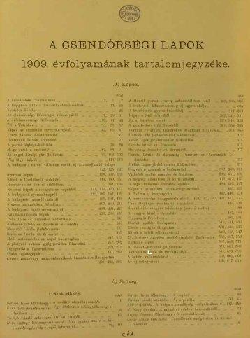 A CSENDŐRSÉGI LAPOK 1909. évfolyamának tartalomj egyzéke .