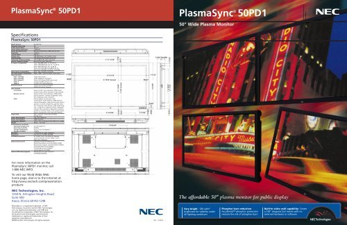 NEC 129904 Plasma Cat  50 (Page 1) - Plasma TV Buying Guide