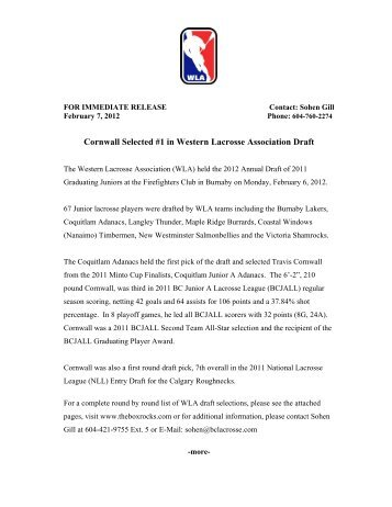 Cornwall Selected #1 in Western Lacrosse Association Draft - BCLA