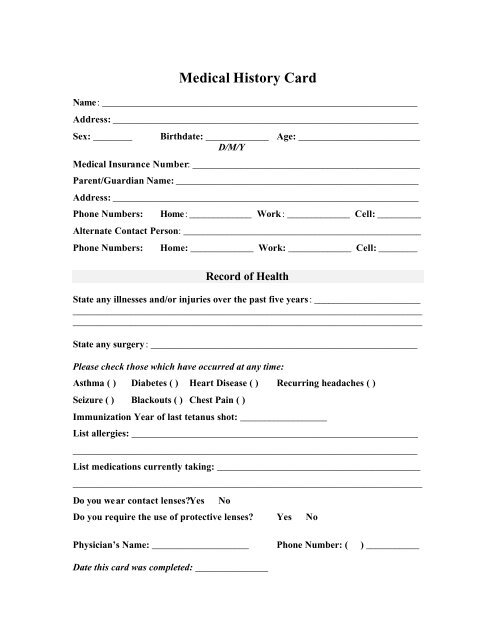 Medical History Card Name