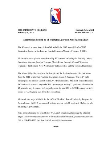 McIntosh Selected #1 in Western Lacrosse Association Draft - BCLA