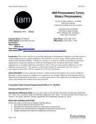 mobile programming - IAM - Columbia College Chicago
